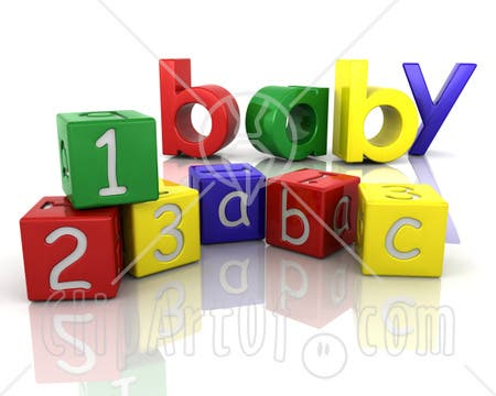 28110-Clipart-Illustration-Of-The-Colorful-Word-Baby-Behind-Number-And-Alphabet-Toy-Blocks-On-A-Reflective-White-Surface