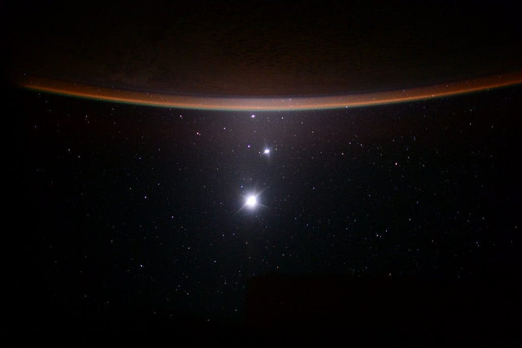 Moon, Jupiter, Venus, Earth from the ISS
